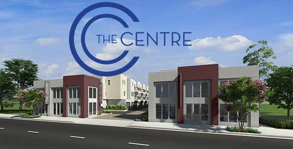 The Centre Garden Grove logo and artist's rendering of building.